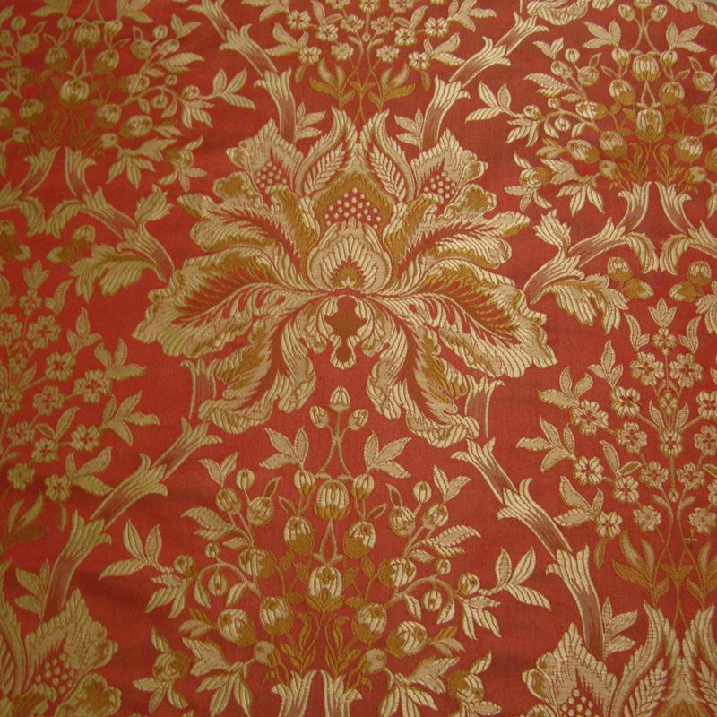 Gold silk brocade fabric