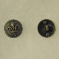 Fleur de lis antique brass button small