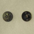 Fleur de lis antique brass button small
