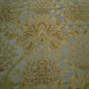 Seafoam and gold silk damask