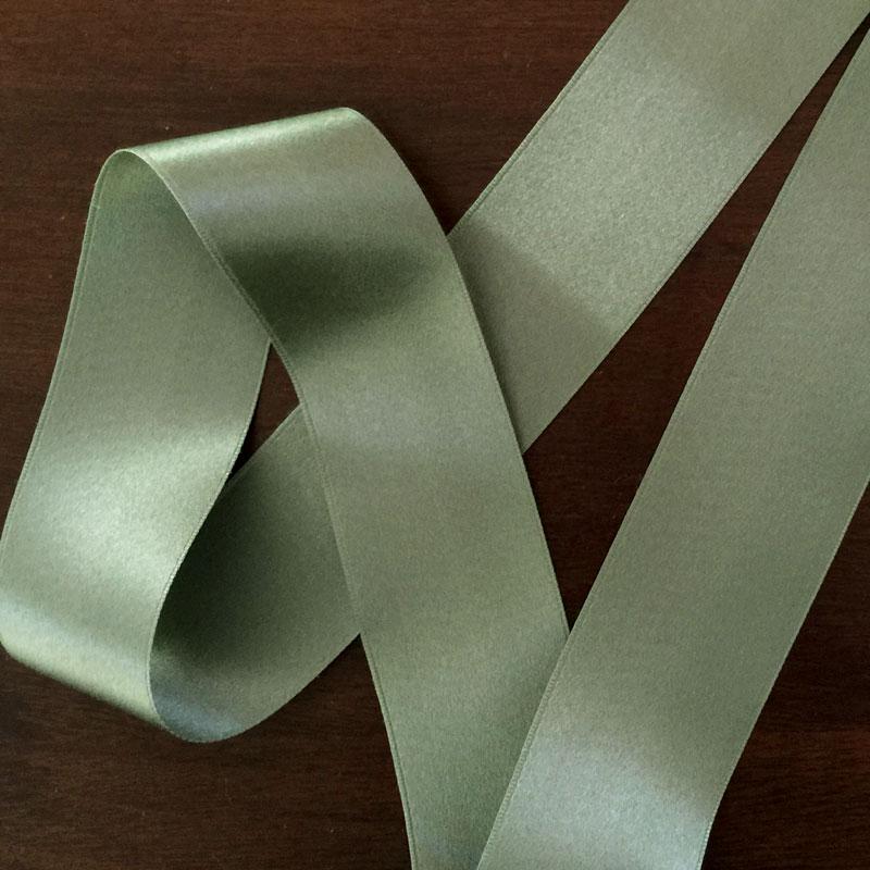 Sage Green Double Face Silk Satin Ribbon 36mm 1 1 2