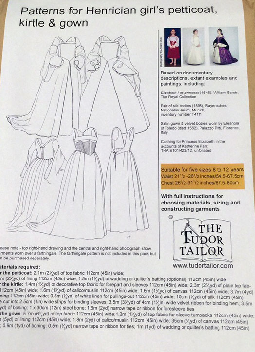 Girls Henrician Petticoat, Kirtle, & Gown